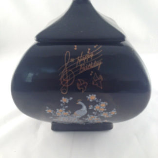 black table jar candy/confection ceramic hand painted happy birthday w/peacock1