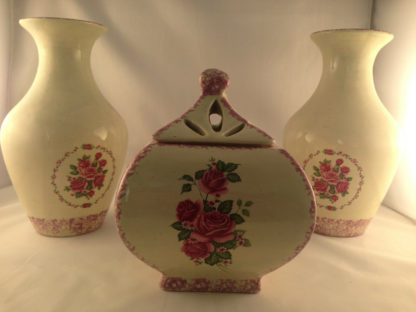 ivory table jar for candy and confection ceramic hand painted removable lid6