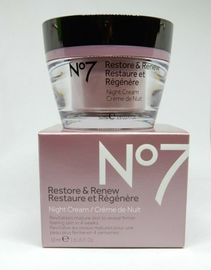 Boots No7 Restore & Renew Night Cream 1.6 oz hypo-allergenic nourishes skin