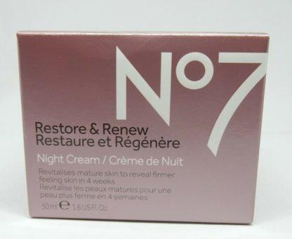 Boots No7 Restore & Renew Night Cream 1.6 oz hypo-allergenic nourishes skin2
