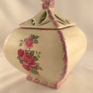 ivory table jar for candy and confection ceramic hand painted removable lid