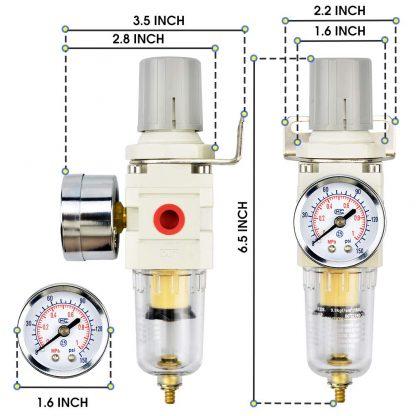 Tailonz Pneumatic 1/4 Inch NPT Air Filter Pressure Regulator Combo Piggyback, Air Tool Compressor Filter with Gauge AW2000-02