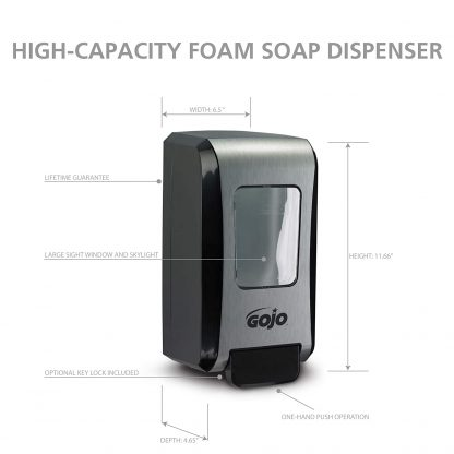 GOJO FMX-20 Push-Style Foam Soap Dispenser, Black/Chrome